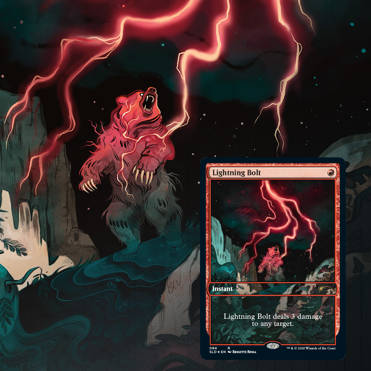 MtG 4 x Secret Lair Lightning BoltFull Art FOIL Limited EditionMagic